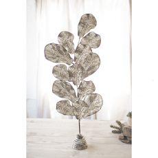 Table Top Metal Oak Leaves on A Stand