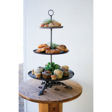 Three Tiered Round Metal Serving Tower with Cast Iron Base