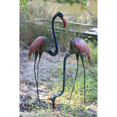 Two Recycled Metal Flamingos (set of 2)