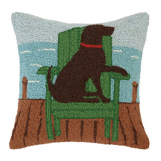 Chocolate Lab In Adirondack Hook Pillow
