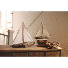 Driftwood Sailboats With Cotton Sails (Set Of 2)