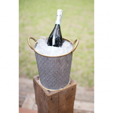 Galvanized and Brass Wine Bucket