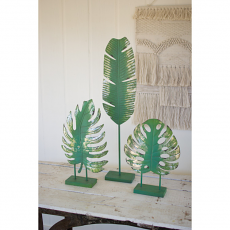 Set of Three Painted Metal Leaves on Stands