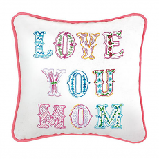 Love You Mom Embroidered Pillow