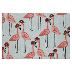 Floral Flamingo Hook Rug