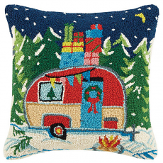Winter Camper With Presents Hook Pillow