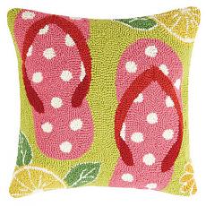 Pink Flip Flops Hook Pillow