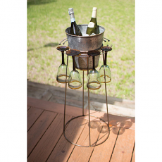 Wine Stand with Galvanized Bucket