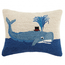 Whale With Top Hat Hook Pillow