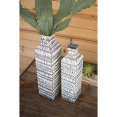 Pressed Metal Tall Flower Vase (Set Of 2)