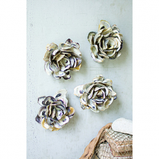 Set Of Four Oyster Shell Hanging Wall Flowers