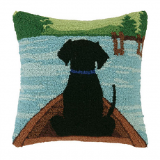 Black Lab In Canoe Hook Pillow