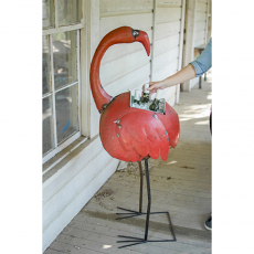 Reclaimed Metal Red Flamingo Cooler