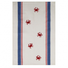 Woven and Embroidered Crab Kitchen Towel
