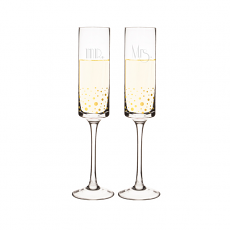 Mr. & Mrs. 8 oz. Gatsby Gold Dotted Contemporary Champagne Flutes