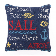 Navy Sail Hook Pillow