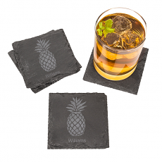 Personalized Pineapple Slate Coasters (Set of 4)