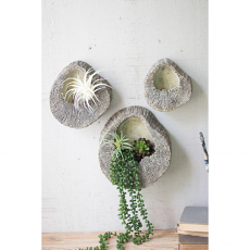 Set Of Three Faux Elm Wall Hanging Planters
