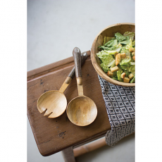 Set of Two Wooden Salad Servers