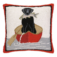 Black Lab With Fish Hook Pillow