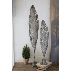 Set of Two Painted Metal Feather Sculptures