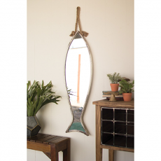 Vertical Fish Shaped Mirror with Rope Hanger