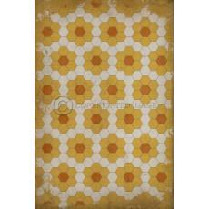 Orange on Yellow on White Pattern Vinyl Floor Cloth