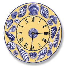 Yellow Blue and White Shells Wall Clock