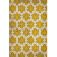 Yellow on Yellow on White Pattern Vinyl Floor Cloth