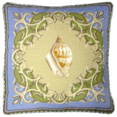 Yellow Shell Needlepoint Pillow
