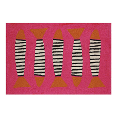 Zebra Fish Pink Coast Hook Rug