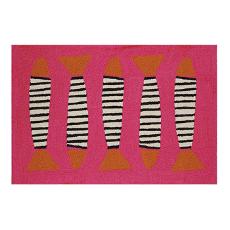Zebra Fish Pink Coast Hook Rug