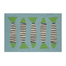 Zebra Fish Turquoise Coast Hook Rug