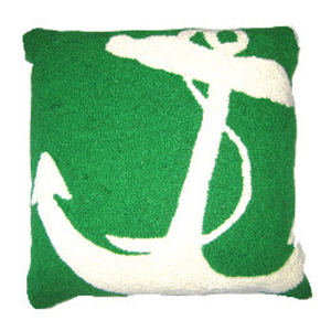 White Anchor Hook Pillow