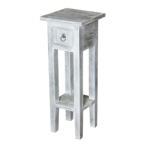 Shutter End Table White Washed