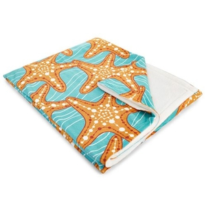 Starfish In Waves Fleece Throw Blanket