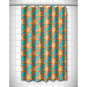 Starfish In Waves Shower Curtain