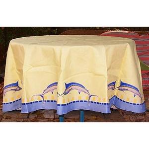 Blue Marlin Round Table Cloth