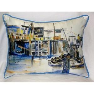Fishing Boat Indoor Outdoor Pillow