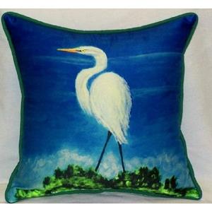 Great Egret Indoor Outdoor Pillow