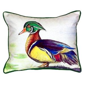 Male Wood Duck Script Small Indoor/Outdoor Pillow 11x14