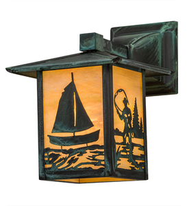 """7""""W Seneca Sailboat & Fly Fisherman Solid Mount Wall Sconce"""