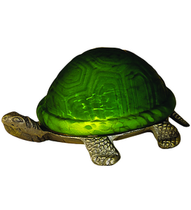 """4""""H Turtle Art Glass Accent Lamp"""