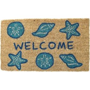 Shells Welcome Handwoven Coconut Fiber Doormat