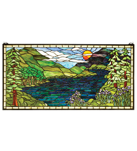 """40""""W X 20""""H Sunset Meadow Stained Glass Window"""