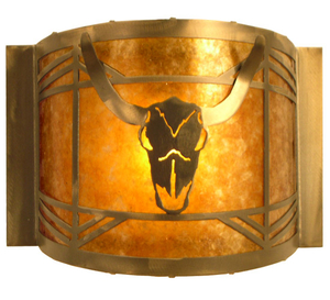 "12""W Steer Skull Wall Sconce"