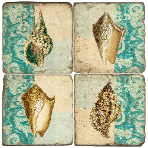 Shells On Fabric Coasters