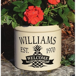 Pineapple Welcome Crock, Personalized