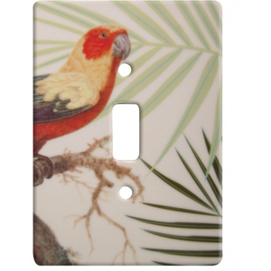 Tropical Parrot And Palms Ceramic Single Switch Wall Plate