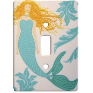 Mermaid Ceramic Single Switch Wall Plate